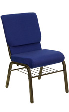 Church Chairs with Basket in Blue