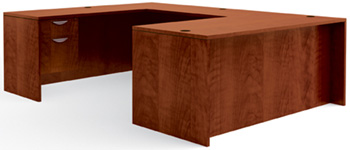 U-Shaped Executive Desk in Dark Cherry Laminate